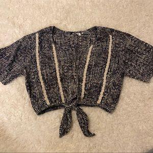 Gitano BLK Vintage 90's Front Tie Crop Top